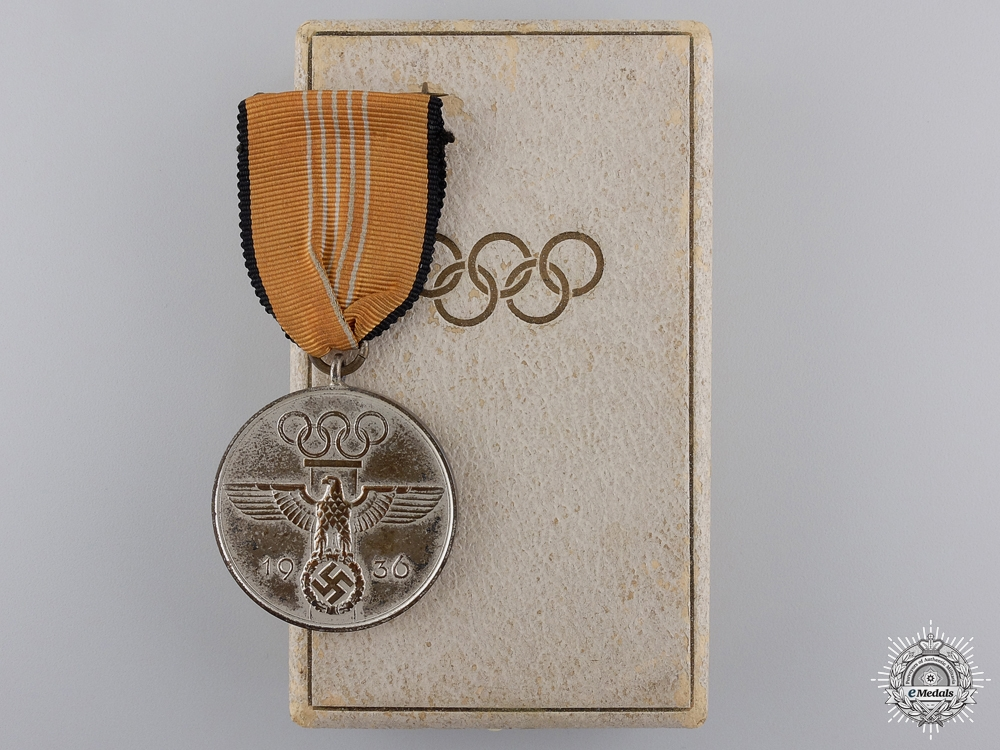 An 1936 Berlin Summer Olympic Games Medal; Cased