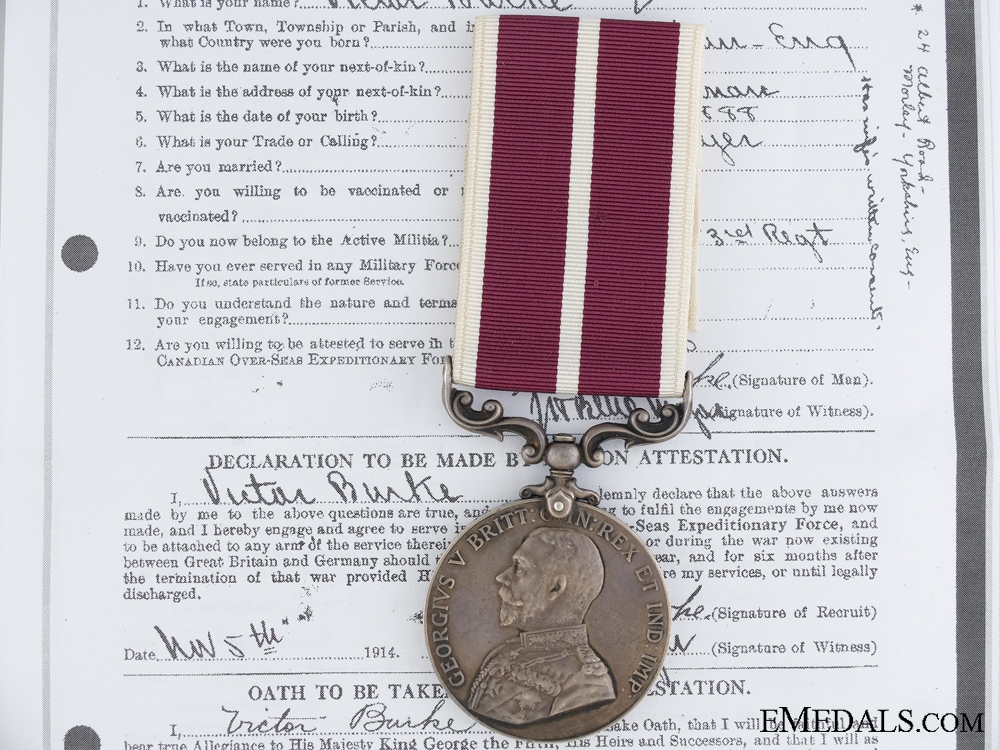 An Army Meritorious Service Medal to the 24th Canadian Infantry