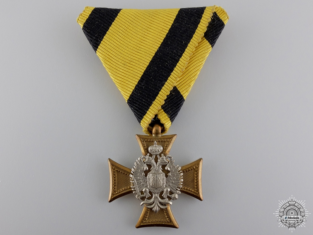 An Austrian Military Long Service Decoration; Mother of Pearl Backing
