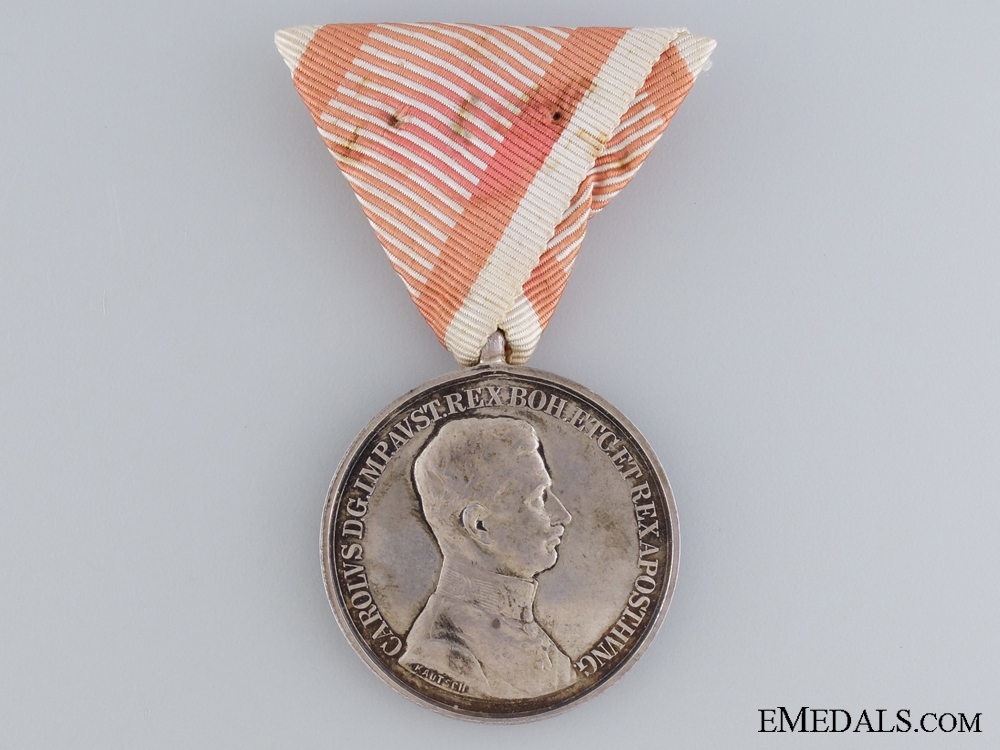 An Austrian Silver Bravery Medal; First Class