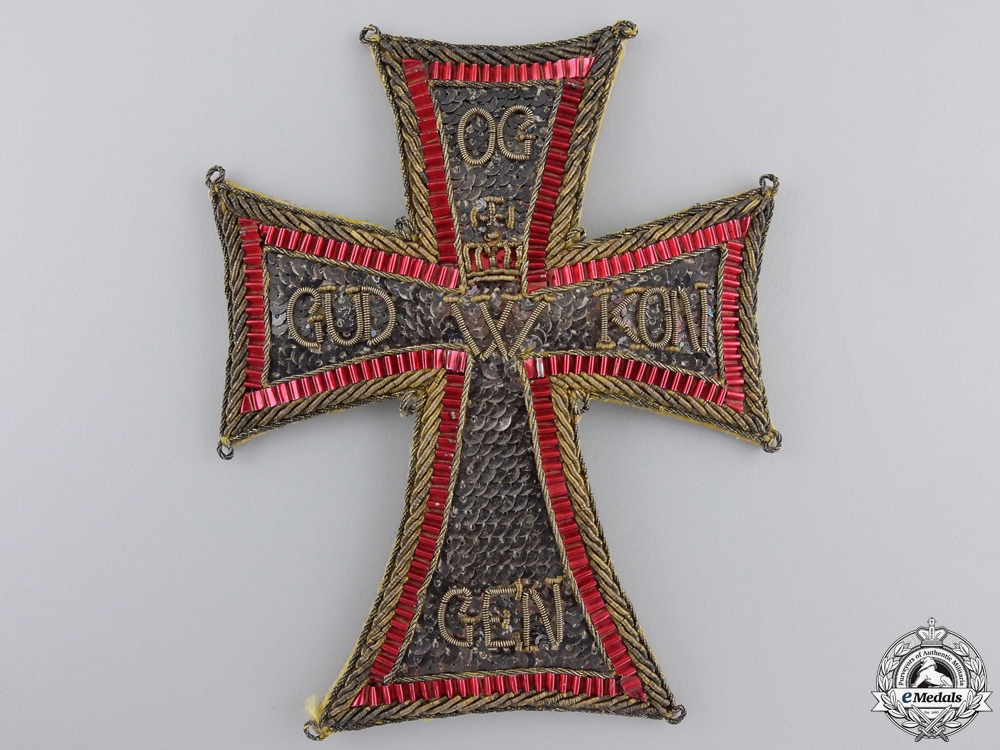 An Embroidered Danish Order of the Dannebrog
