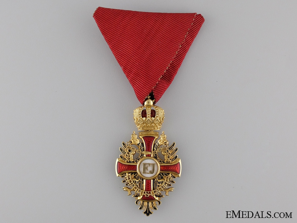 An Exquisite 1914 Order of Franz Joseph in Gold; Knight's Cross