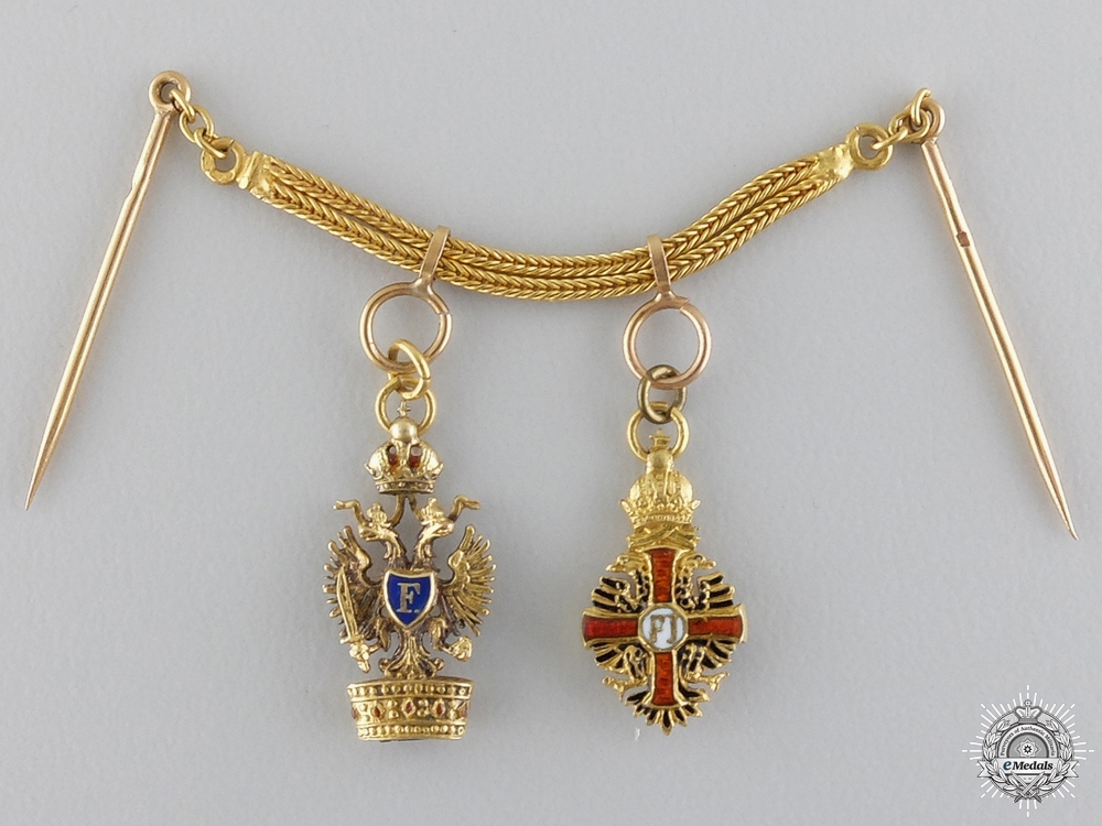 A Exquisite Franz Joseph & Iron Crown Miniature Pair in Gold c.1880-1900