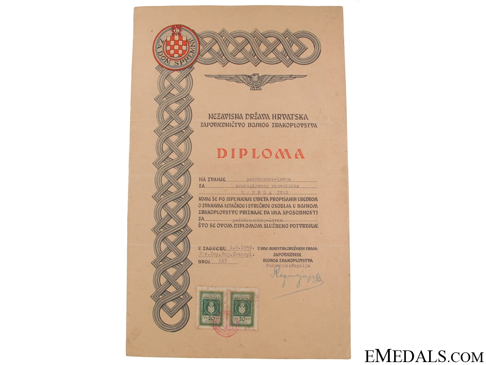An Extremely Rare Award Document to WWII Croatian Paratrooper