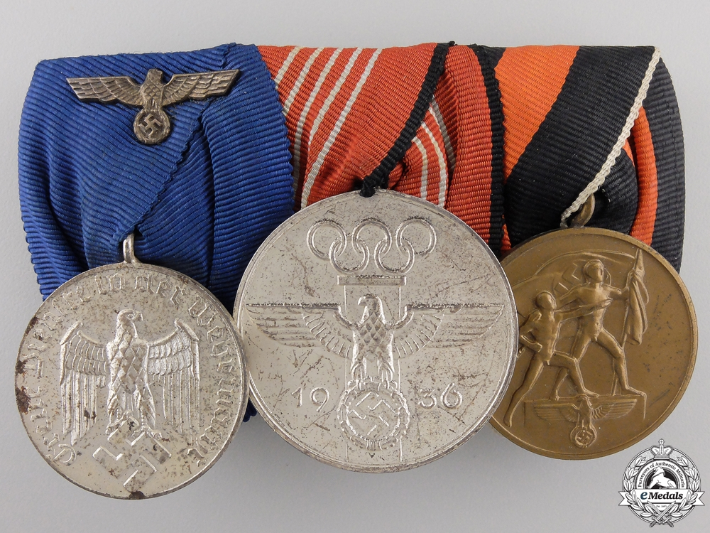 An German Army Long Service & Olympic Medal Bar