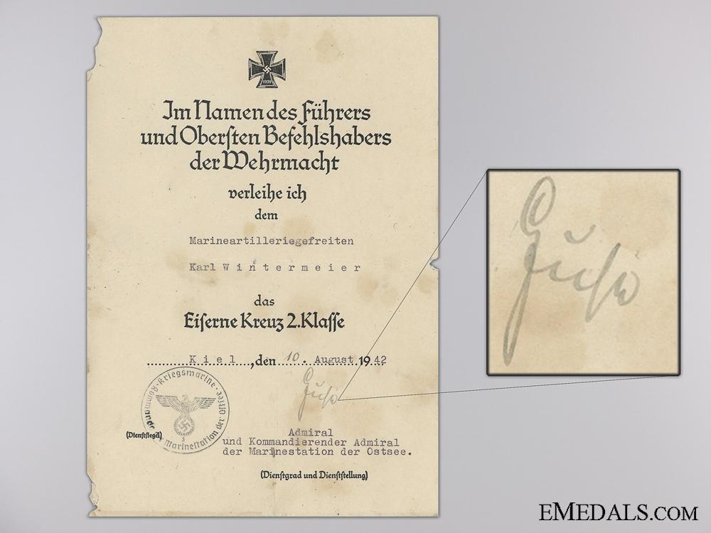 An Iron Cross 2nd Class Award Document to Naval Artillery Battery