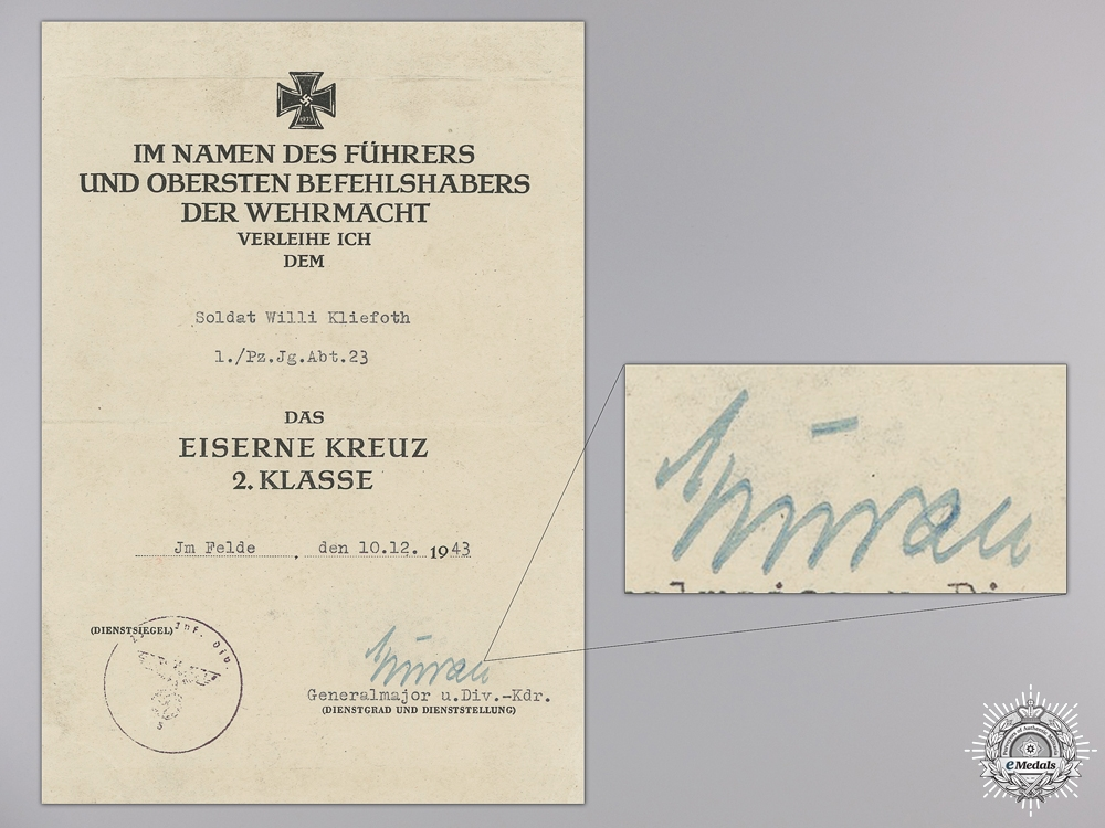 An Iron Cross 2nd Class Award Document to the 1st Panzer 1943