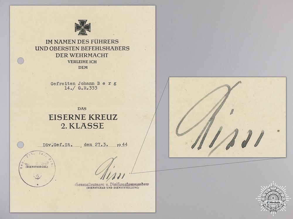 An Iron Cross 2nd Class Award Document to the 14th Gren.