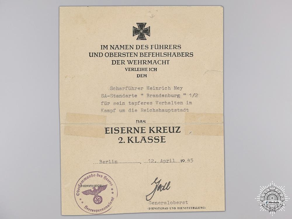 An Iron Cross 2nd Class Award Document to SA-Standarte Brandenburg  Consignment #28