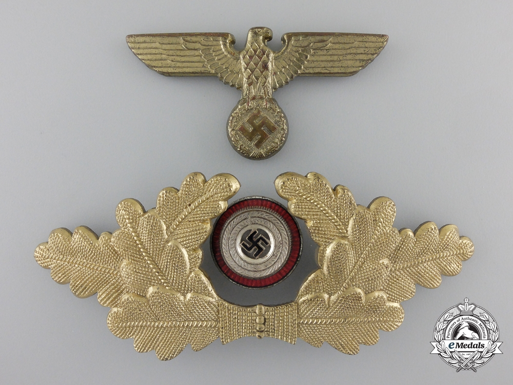 An NSDAP Political Leader's Visor Wreath and Eagle