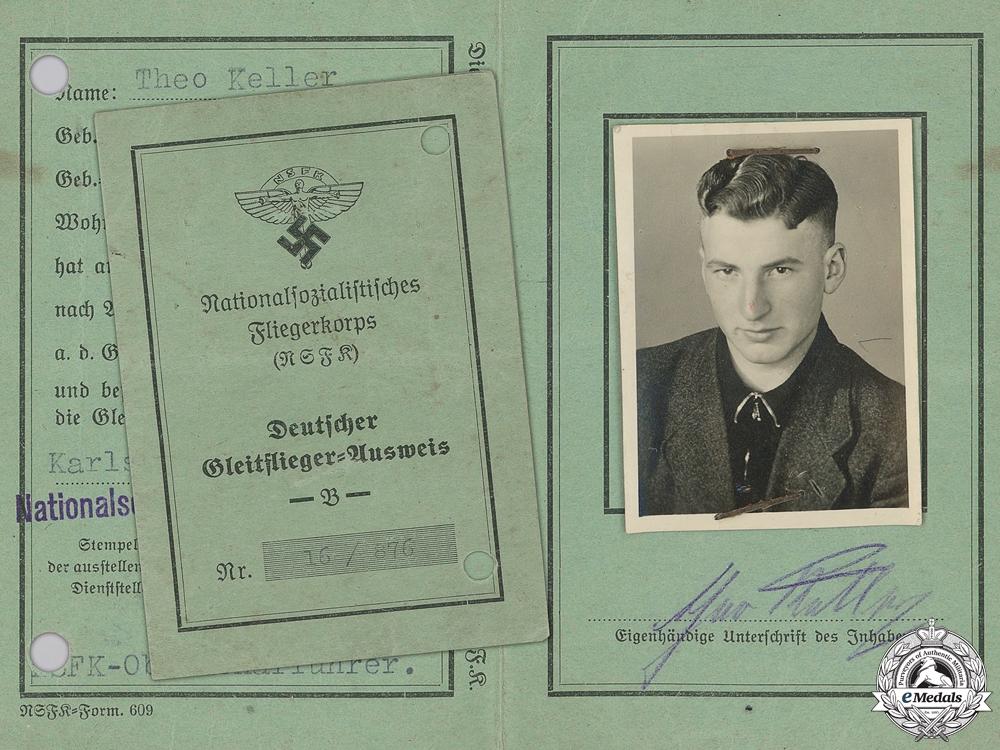 An NSFK Pilot's Membership Identification Certificate