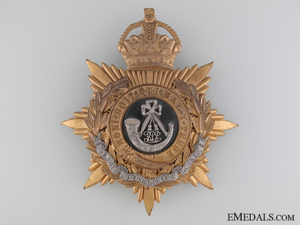 An Officer's Kings Shropshire Light Infantry Helmet Plate
