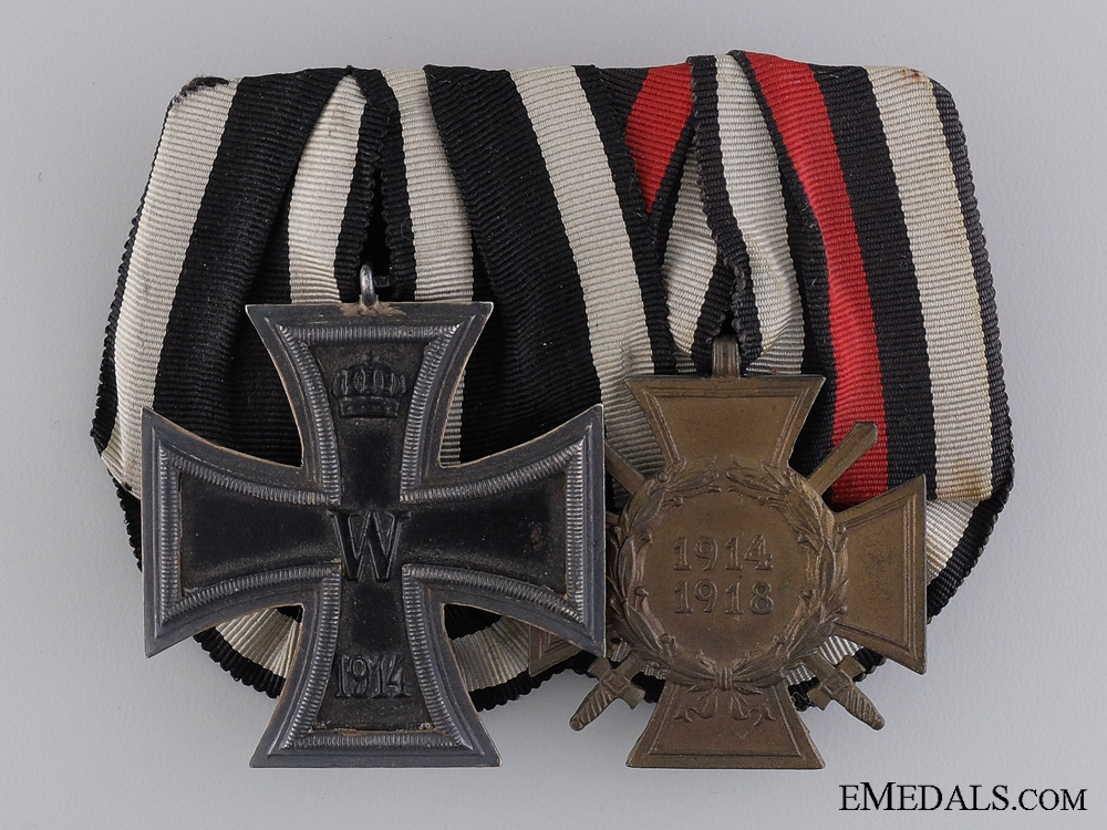 An WWI Iron Cross Medal Group; Marked M