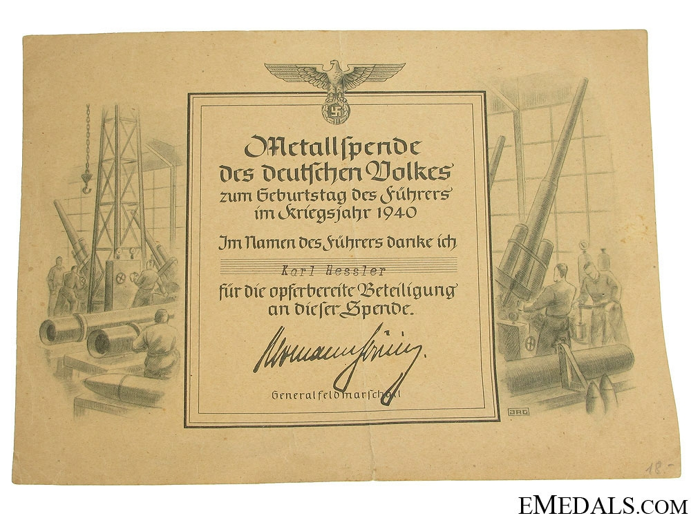 Award Document for a War Effort