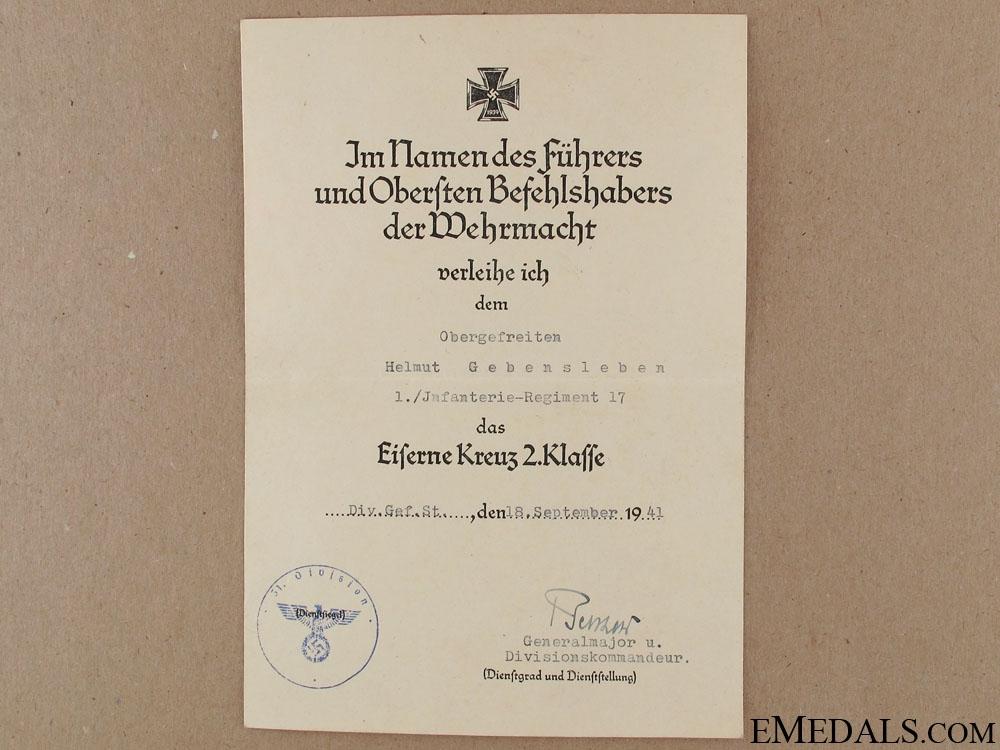 Award Document for Iron Cross 2nd Class 1939
