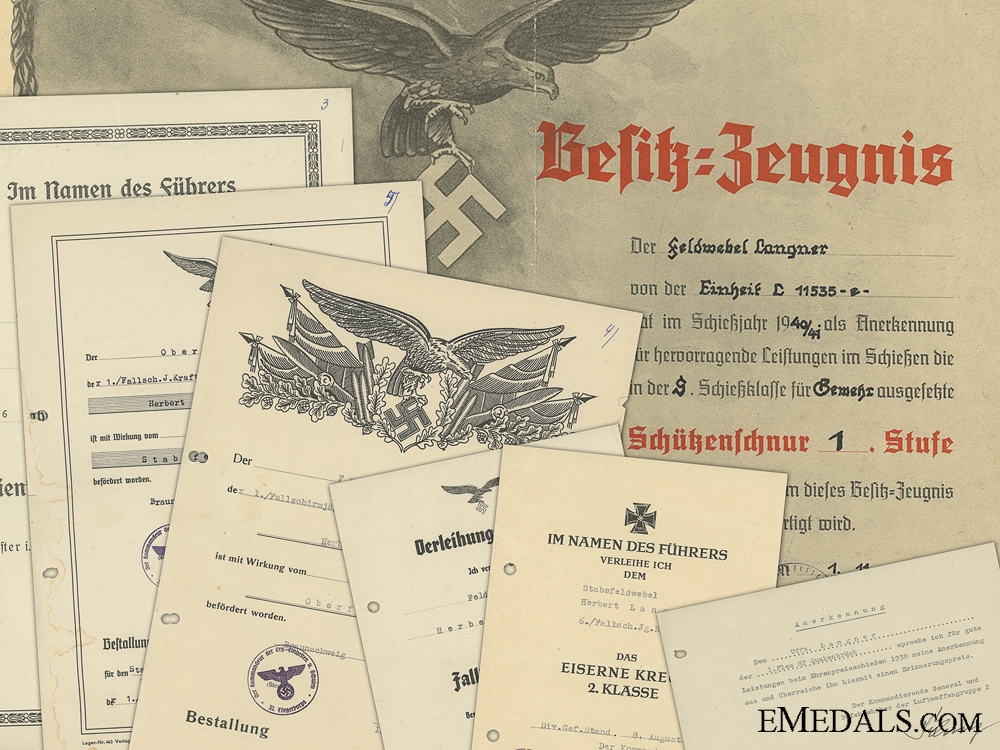 Germany, Luftwaffe. A Collection Of Award Documents To Fallschirmjäger Stabsfeldwebel Herbert Langner