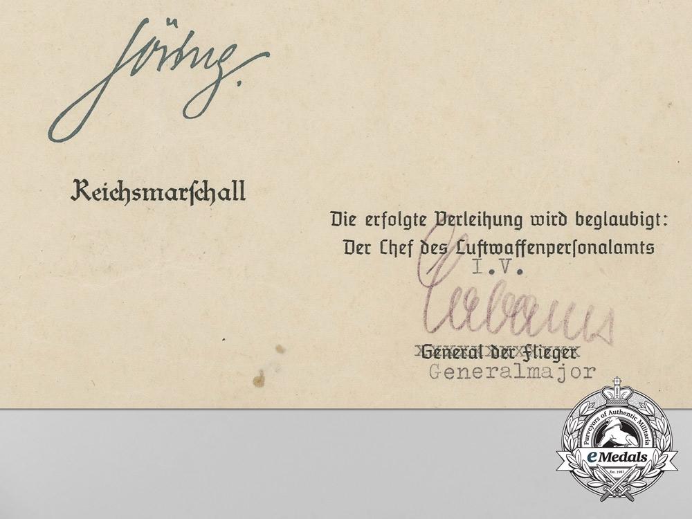 A Luftwaffe Honour Goblet & Document to Unteroffizier Rudolf Schweter by Johann Wagner & Sohn