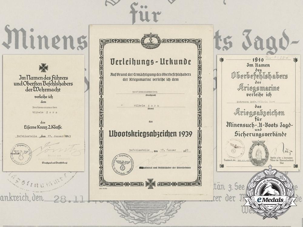 A Kriegsmarine Document Grouping to Bootsmannsmaaten Wilhelm Zorn