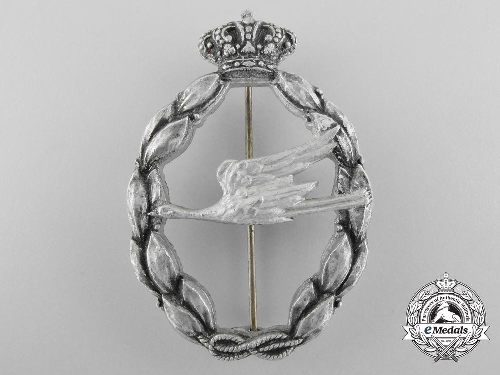 An Italian Regia Aeronautica Rescue Qualification Badge, Silver Grade