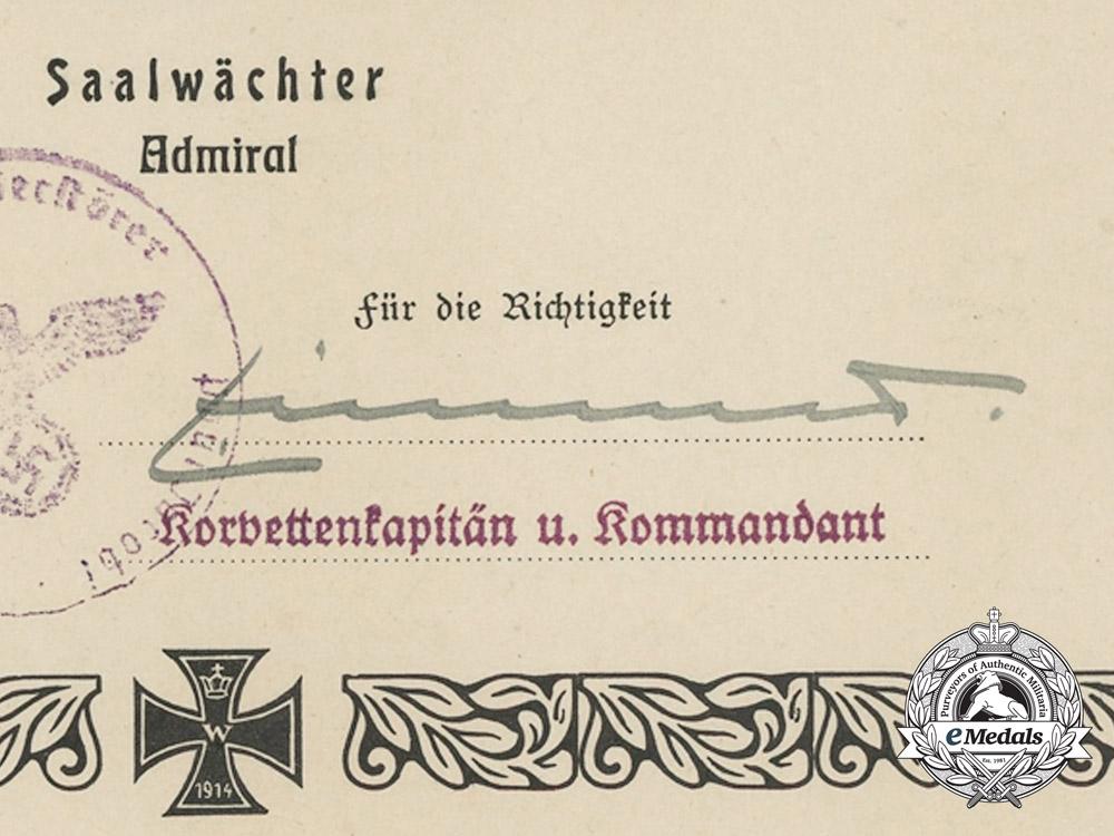 A Group of Kriegsmarine Award Documents to W. Striewski; Destroyer Paul Jacobi