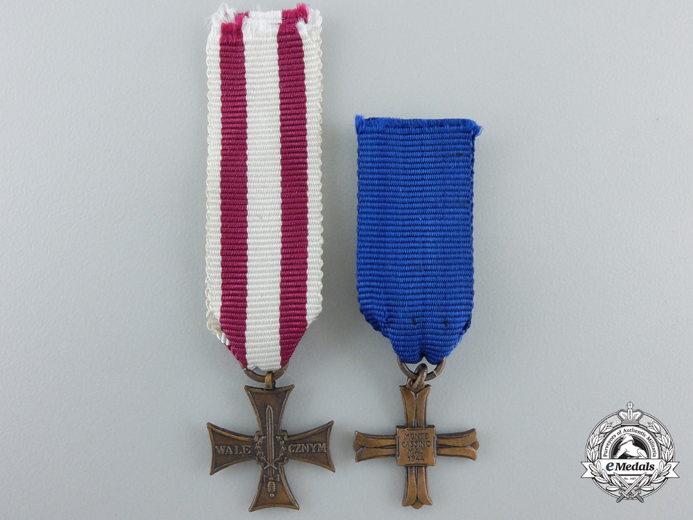 Two Miniature Polish Medals & Awards