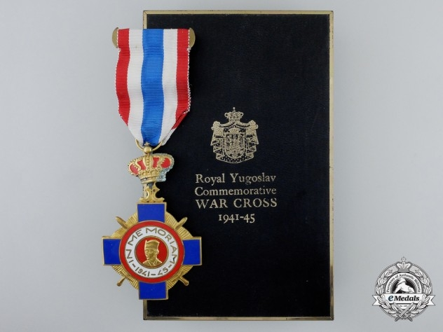 A Royal Yugoslav Commemorative War Cross 1941-45 with Case and Award Document