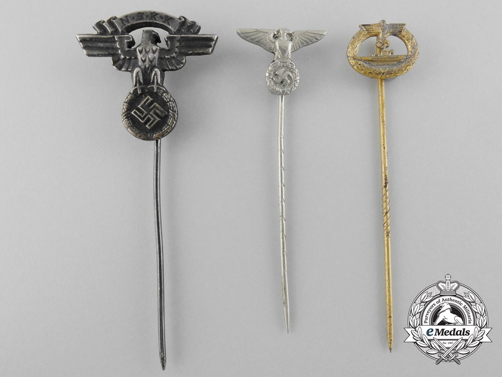 Germany, Third Reich. Three Stickpin Badges; NSKK, Submarine, & SA