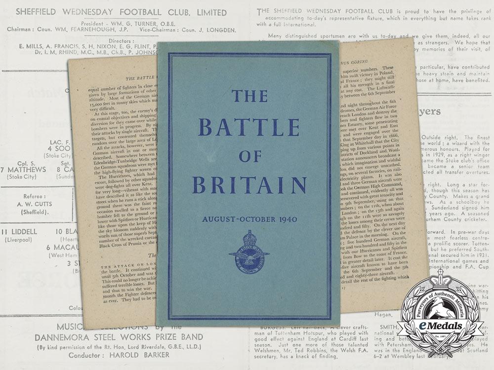 A 1940 RAF Battle of Britain Booklet & Football Match Programme