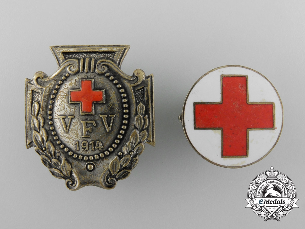 Two German Imperial Red Cross Badges