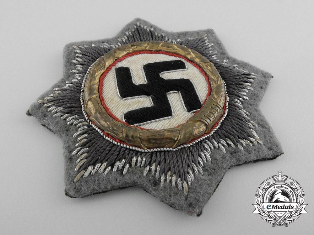 A German Cross in Gold; Cloth Version for SS/Sturmgeschuetz Units
