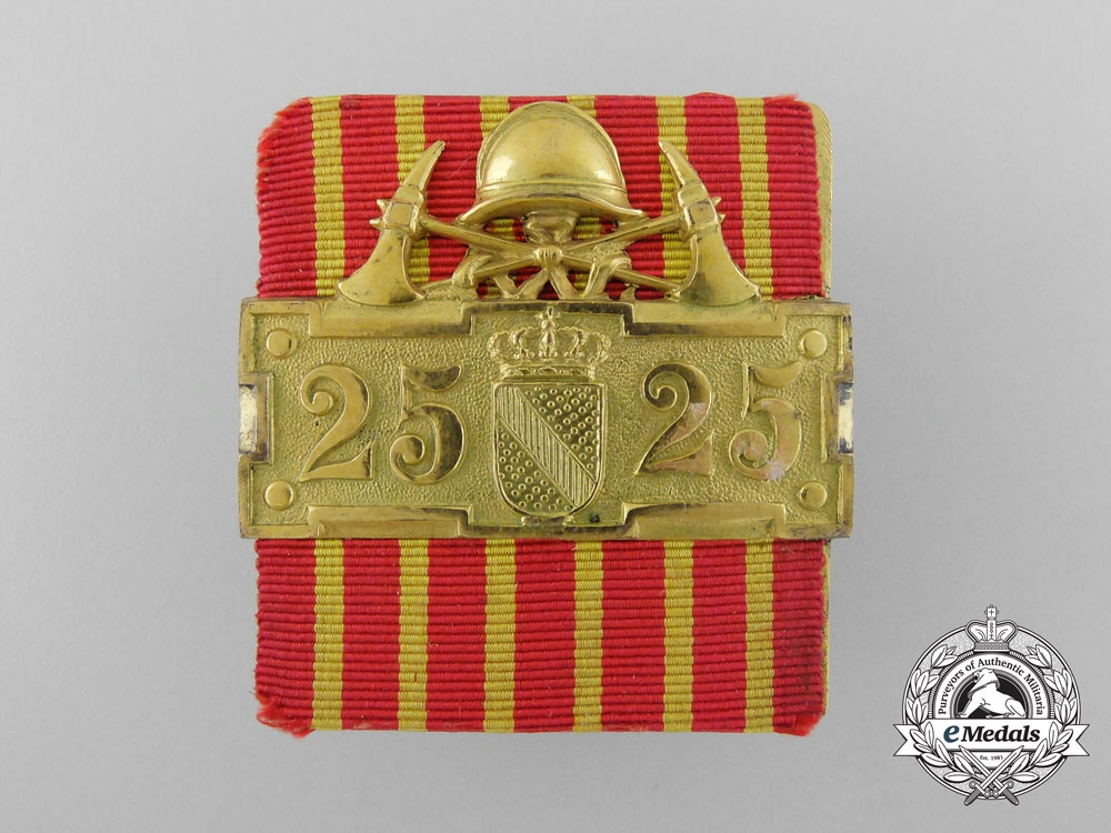 A Baden Fire Service Long Service Bar for Twenty-Five Years' Service