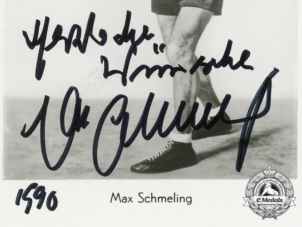 A Heavyweight Boxing Champion & Luftwaffe Elite Fallschirmjäger Max Schmeling Signed Photograph
