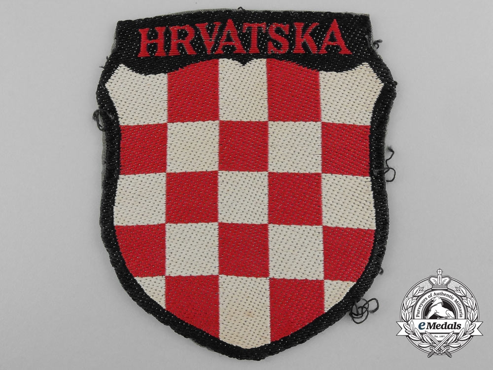 A Uniform Removed Croatian Volunteer Shield; 369.th (Kroat) Regiment