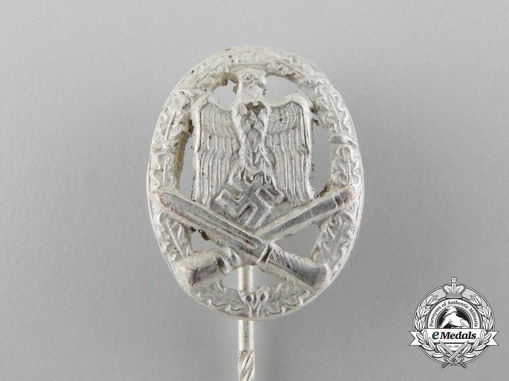 A Miniature German General Assault Badge; Silver Grade Pin