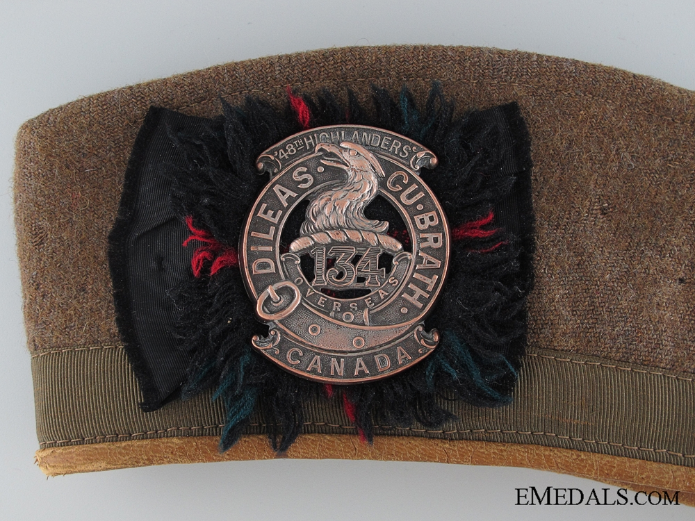 WWI 134th Battalion Khaki Glengarry Cap 1918