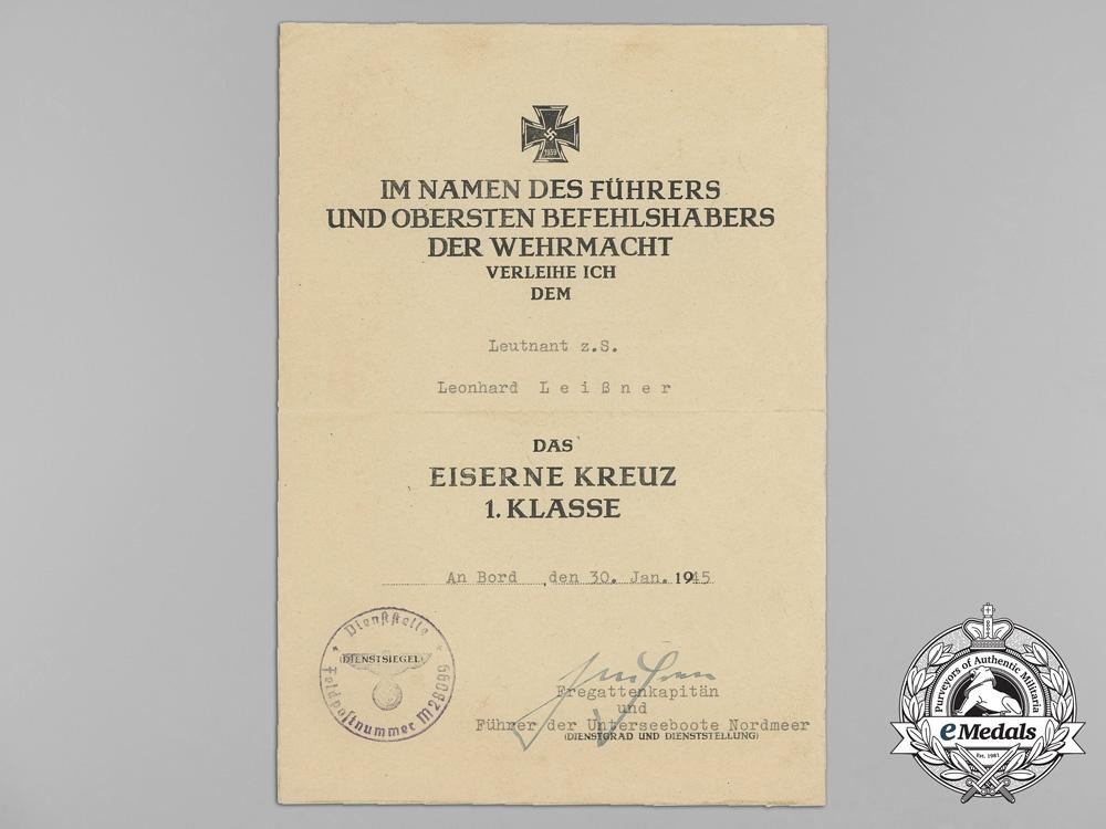 Germany, Kriegsmarine. Award Documents Signed by U-boat Captain & KC with Swords Recipient Reinhard Suhren