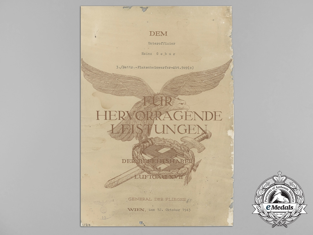 Germany, Luftwaffe. An Award Document for Outstanding Services to Flak Search Light Battery NCO