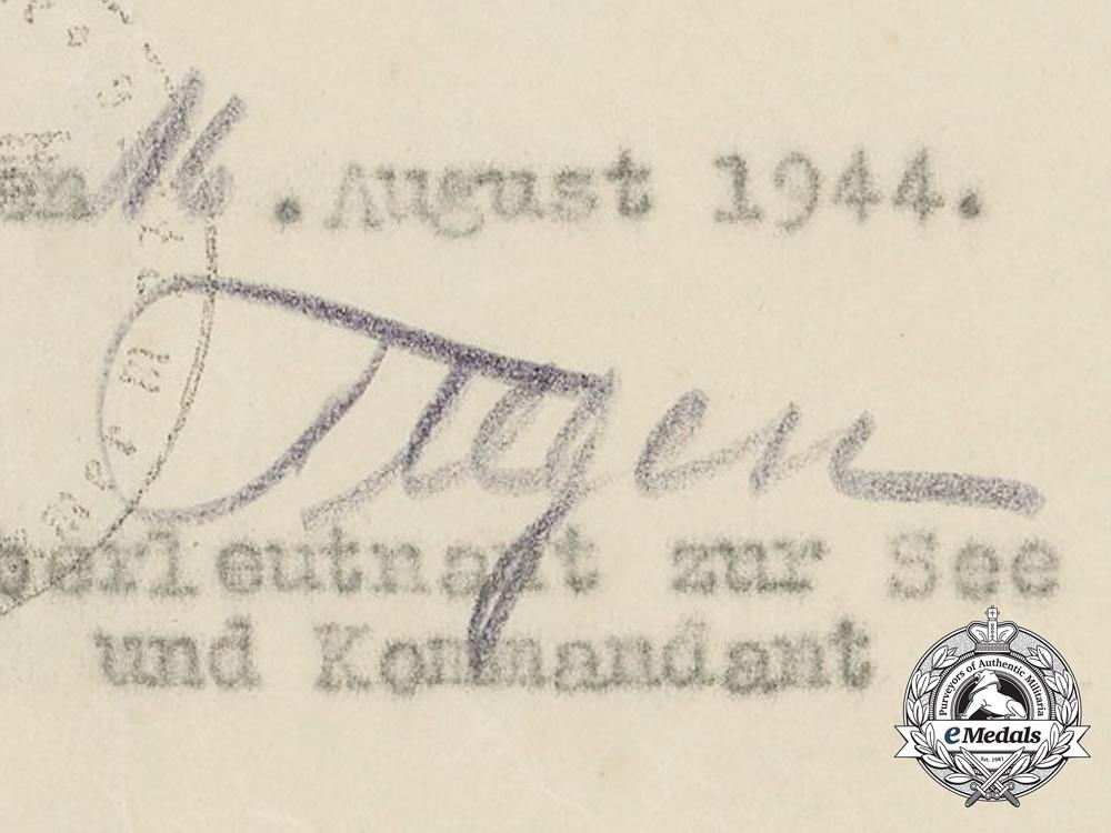 Germany, Kriegsmarine. Two Award Documents to Leutnant zur See; Wound Badge & EK