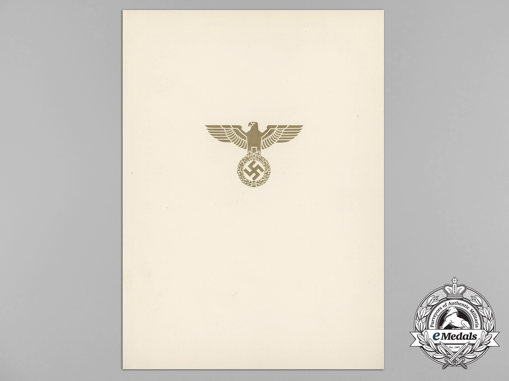 Germany, Heer. A German Eagle Order with Swords Award Document to Spanish Recipient