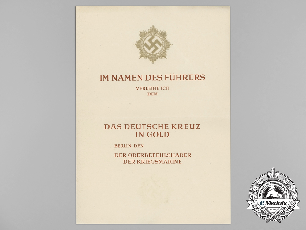 An Unissued Kriegsmarine German Cross in Gold Award Document