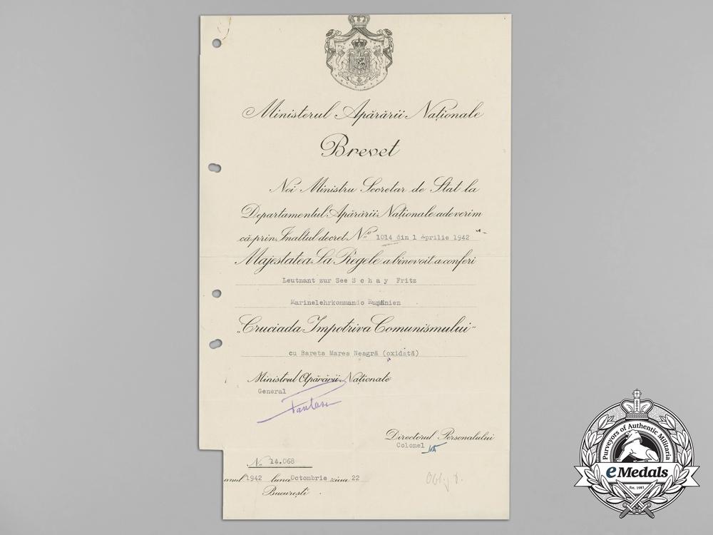 A 1942 Romanian Crusade Against Communism Award Document