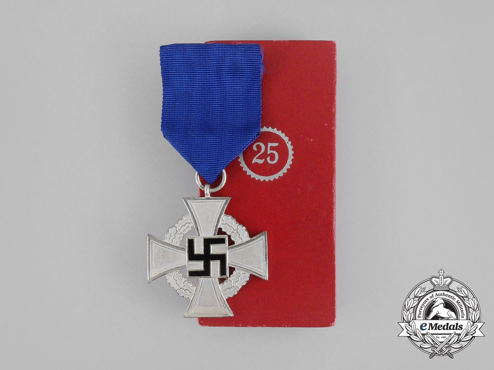 A Mint Third Reich Period German 25-Year Faithful Service Cross in its Original Case of Issue