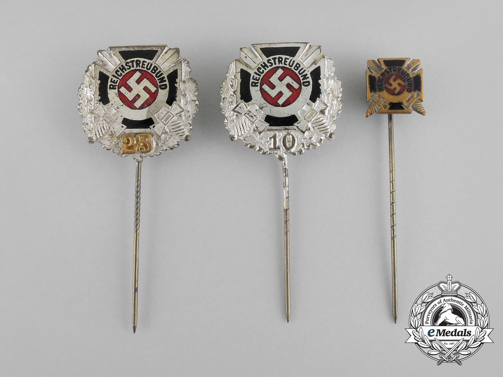 A Grouping of Three Reichstreubund of Former Soldiers Membership Stick Pins