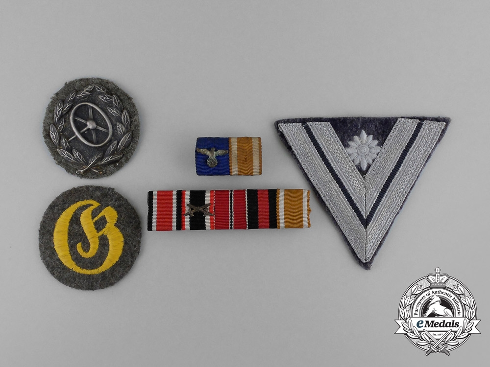 A Group of Third Reich German Medal Bars, Badges, and Insignia