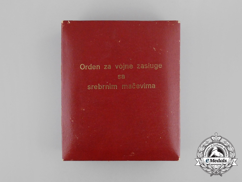A Yugoslavian Order of Military Merit with Silver Swords; 3rd Class with Case
