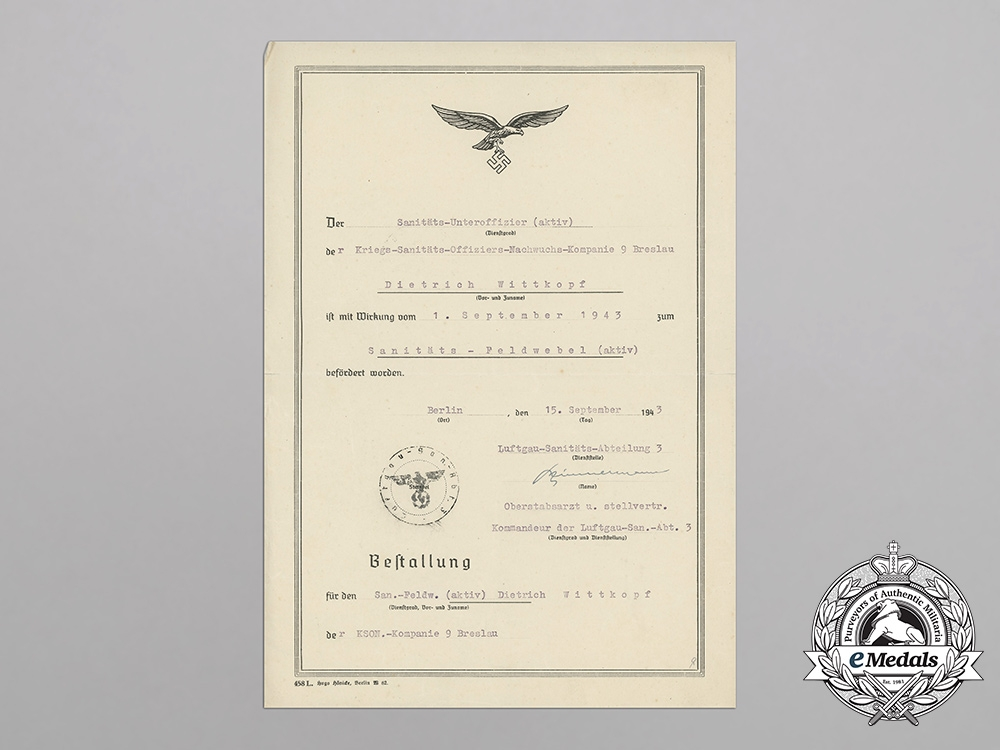 A Luftwaffe Document Promoting Medical Corporal Dietrich Wittkopf to Master Sergeant