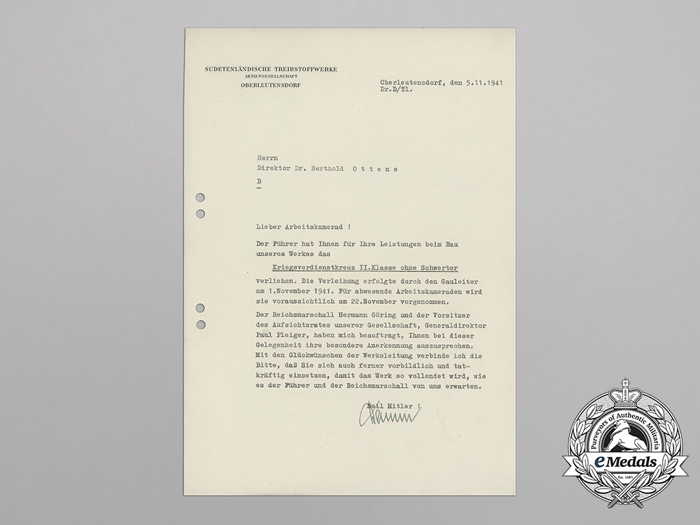 A War Merit Cross 2nd Class Award Document to Director Ottens of State Fuel Company