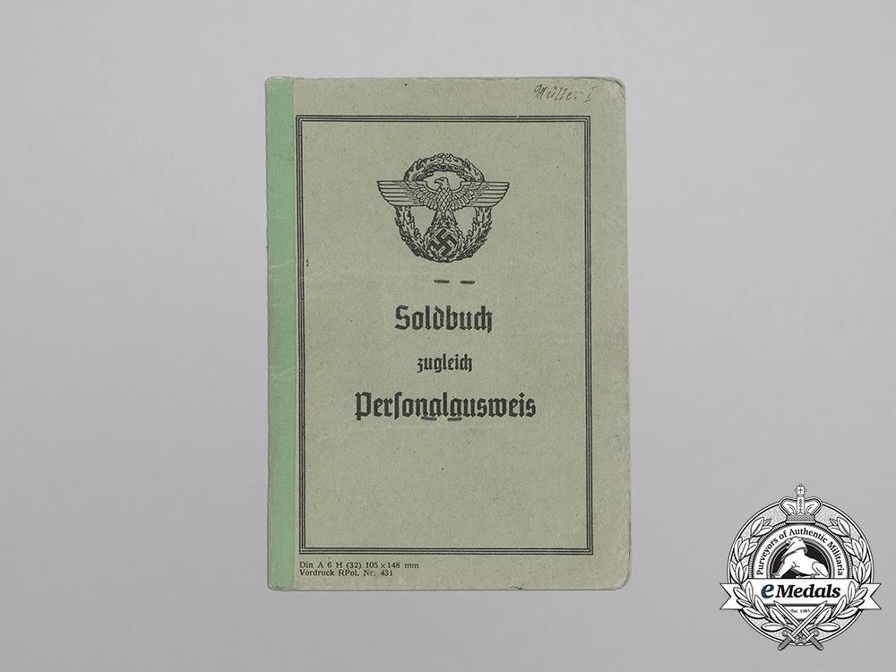 A Soldbuch to Partisan Fighting Hilfspolizei Constable Josef Müller, Sen.
