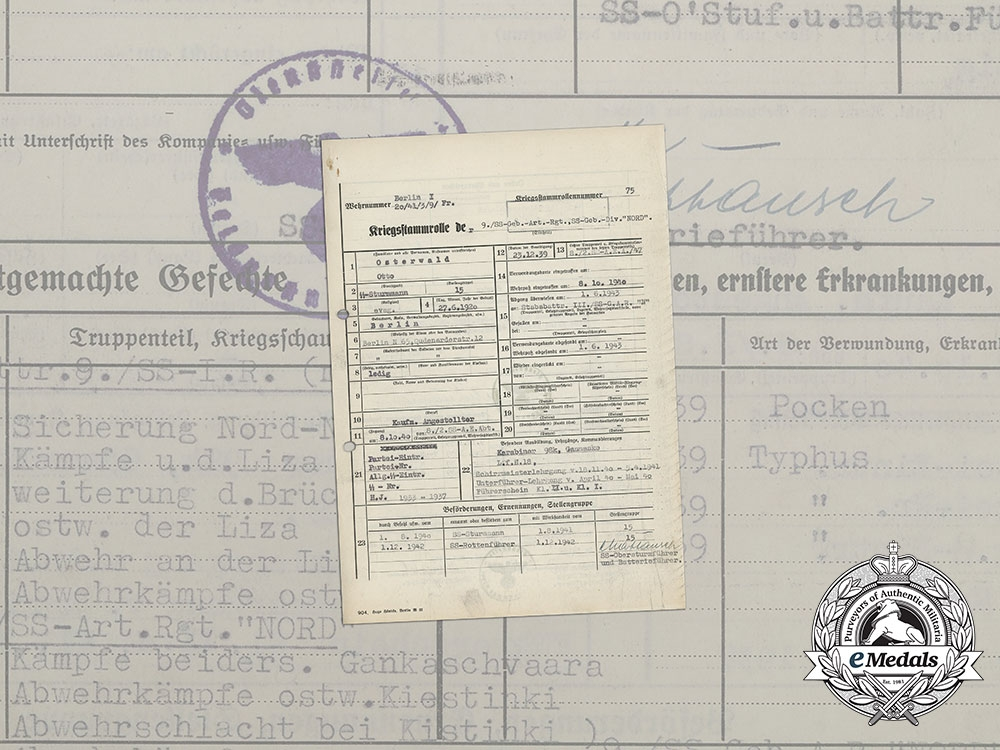 A Service Record to SS-Rottenführer Otto Osterwald