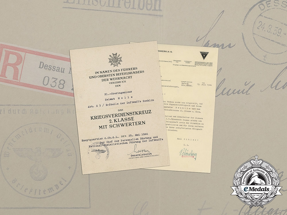 Germany, Luftwaffe. Documents of Aerial Senior Engineer of Department E3 of Testing Site